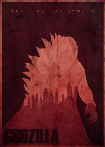 2010's Movie - GODZILLA MINIMAL RED canvas print - self adhesive poster - photo print